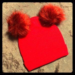 Red Vegan Fur Double Pom Hat!